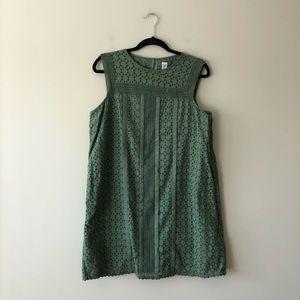 Gap green sleeveless lace eyelet dress